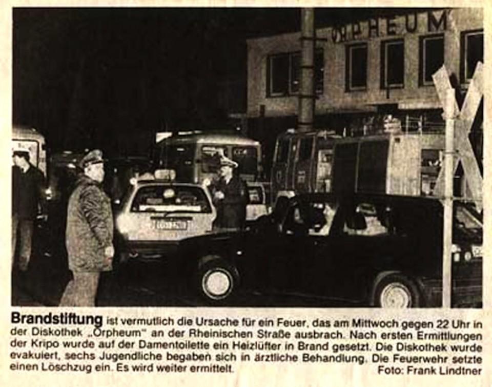 Die Ruhr Nachrichten berichteten am 8. März vom Brand der Diskothek Orpheum. Quelle:Ruhrnachrichten